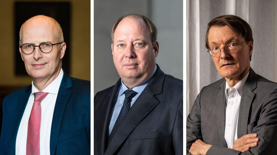 Hamburgs Erster Bürgermeister Tschentscher, Kanzleramtsminister Braun, Bundestagsabgeordneter Lauterbach