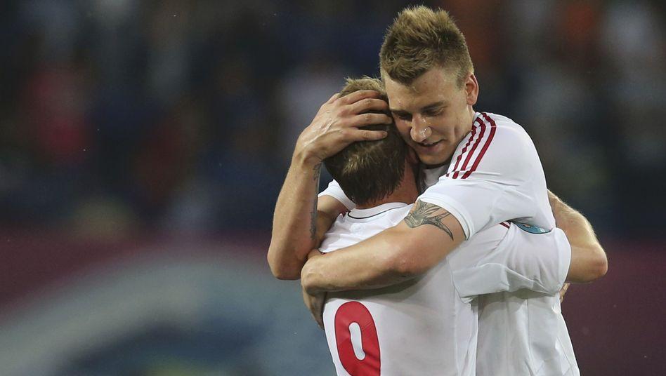 "Dänemark-Torschütze Krohn-Dehli (l.), Bendtner: ""Gute Ausgangsbasis"""