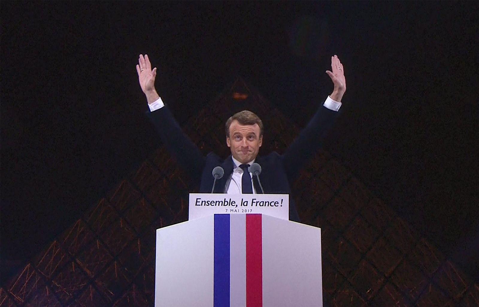 EINMALIGE VERWENDUNG Emmanuel Macron/ Gewinn Rede