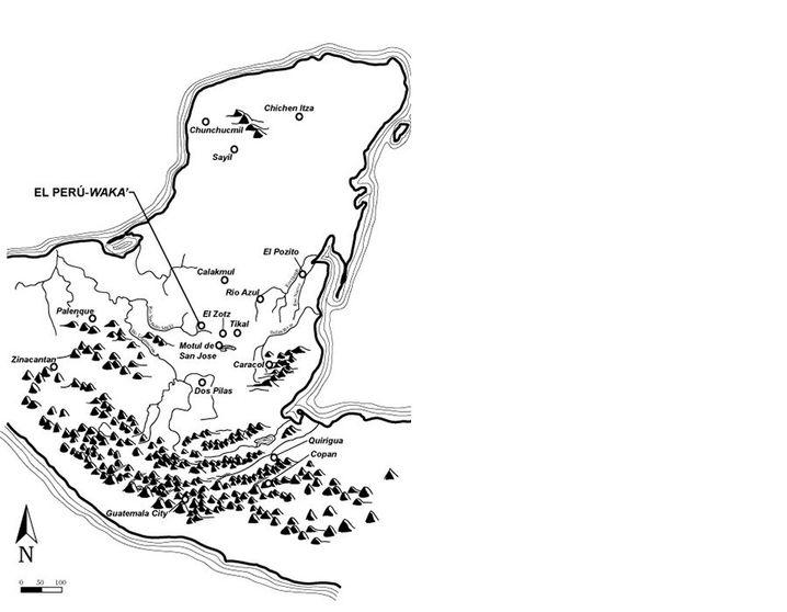 Lageplan von El Perú-Waka' im Departamento Petén