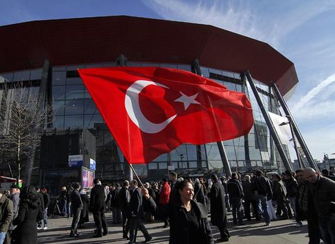 Fans of Erdogan turned out in their tens of thousands to hear him speak on Sunday.