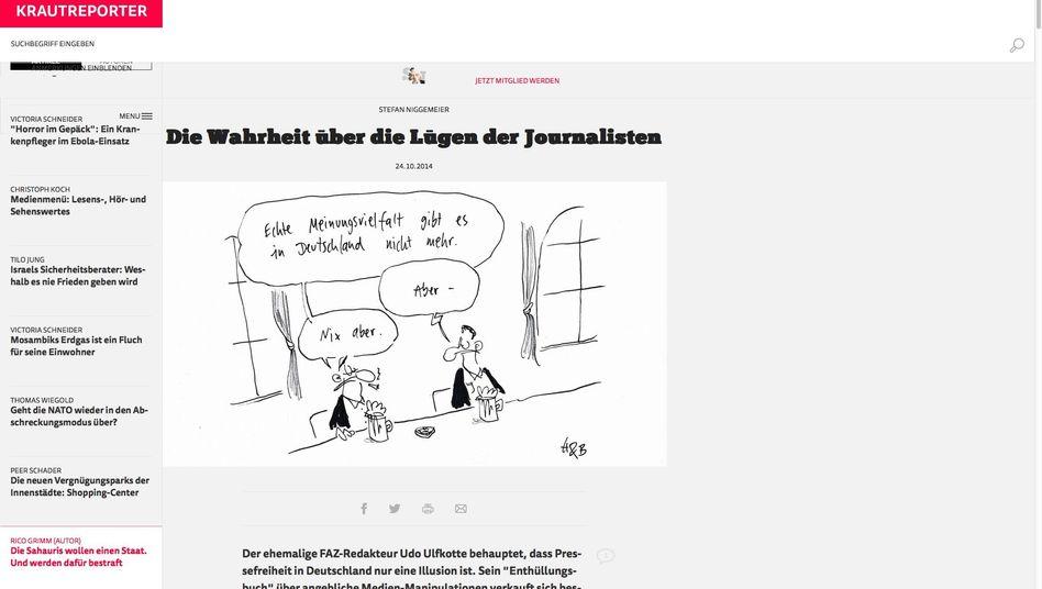 """""""Krautreporter""""-Webseite: Geballtes Paket journalistischer Texte"""