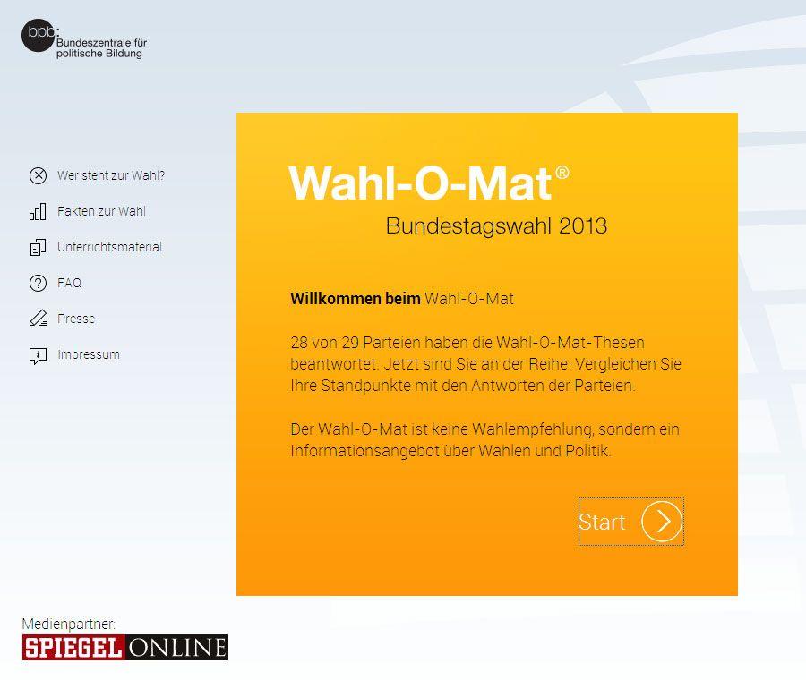Screenshot Wahl-O-Mat Bundestagswahl 2013