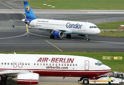 Flugzeuge verschiedener Unternehmen: Schnell ans Fenster, damit die Konkurrenz nicht merkt, dass der Flieger halb leer ist