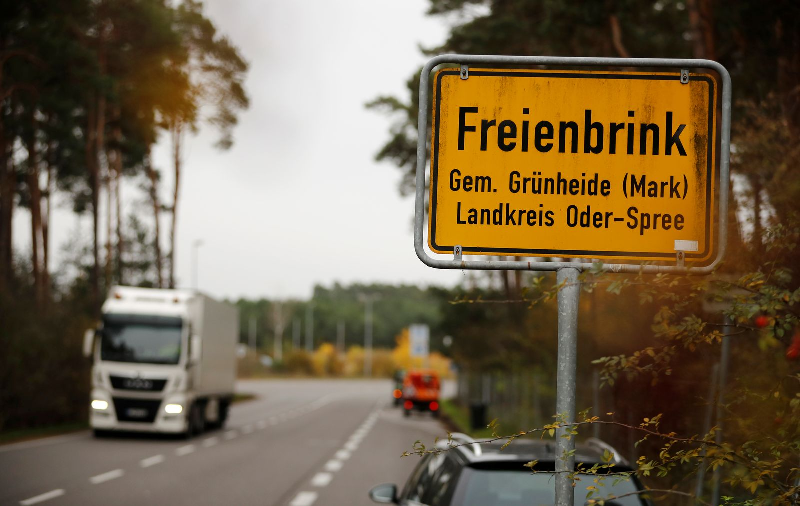 The town sign of Freienbrink district of Gruenheide is pictured near Berlin