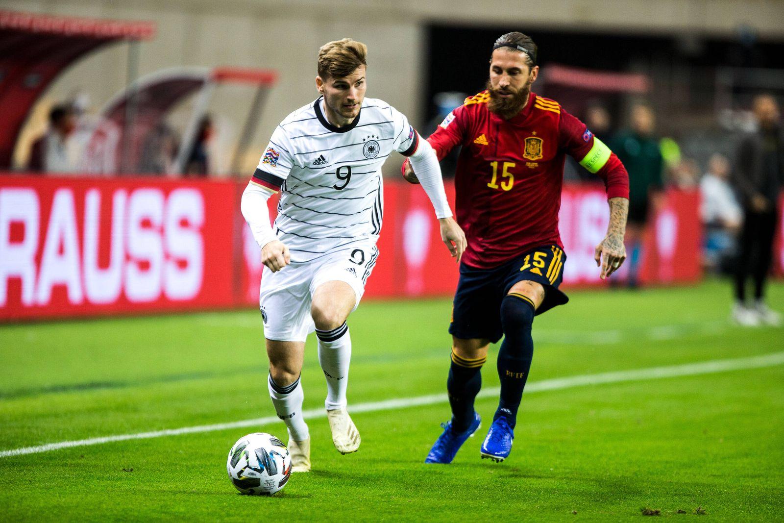 November 17, 2020, Sevilla, SEVILLA, SPAIN: Timo Werner of Germany and Sergio Ramos of Spain during the UEFA Nations le