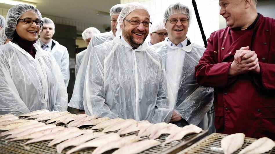Kanzlerkandidat Schulz in einer Fischräucherei in Eckernförde: In der SPD üben sie noch