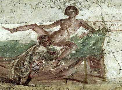Erotisches Fresko im öffentlichen Bad von Pompeji: Erinnerung an das pralle Leben der Antike