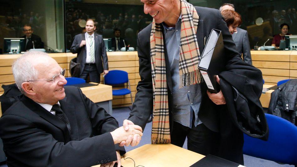 """Schäuble und Varoufakis (r., Archivbild): """"Regieren ist ein Rendezvous mit der Realität"""""""