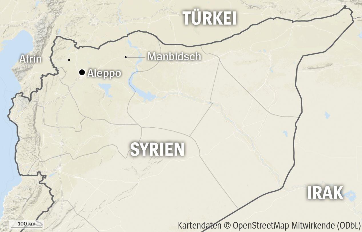 Karte Nordsyrien Afrin Manbidsch