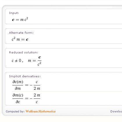 Einsteins berühmte Formel: Gibt man Wolfram Alpha mathematische Ausdrücke vor, läuft es zu Hochform auf, glänzt mit grafisch wunderbar aufbereiteten Formeln. Der Mathematica-Unterbau macht sich bezahlt