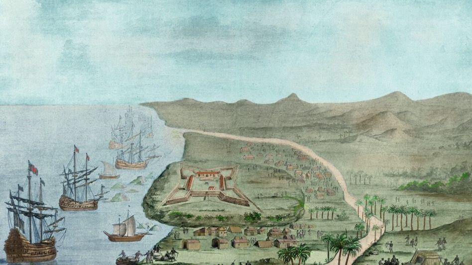 Groß-Friedrichsburg: Der Hauptort der brandenburgischen Kolonie an der Guinea-Küste war weniger imposant als sein Name (Zeichnung von 1688).