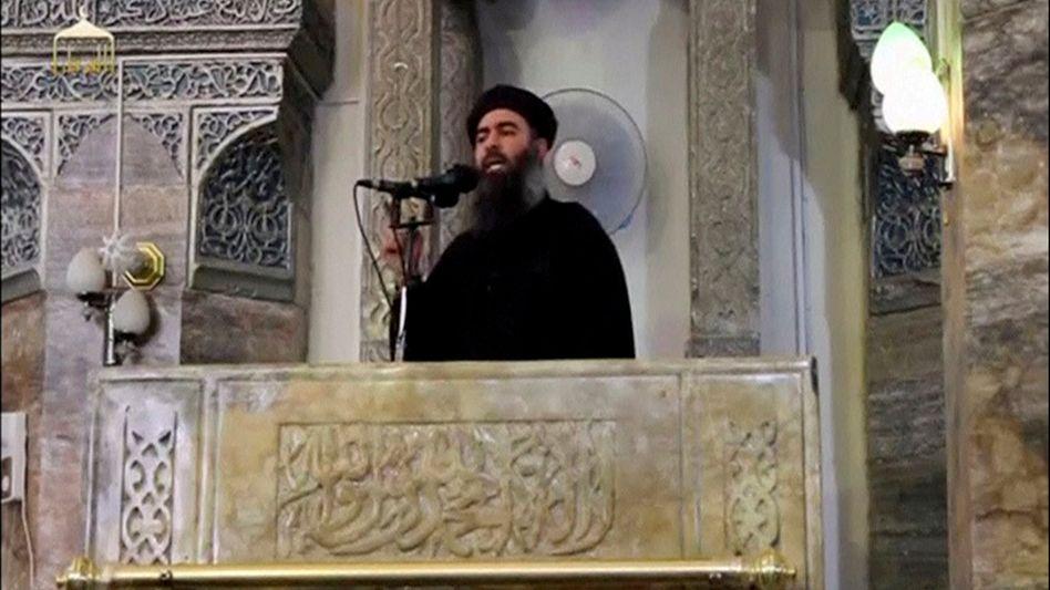 Baghdadi bei einer Rede in Mossul (Archivbild)