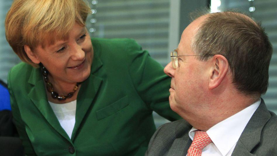 Merkel und Steinbrück (Archivbild): 81 Prozent der Befragten glauben sie wird wieder Kanzlerin