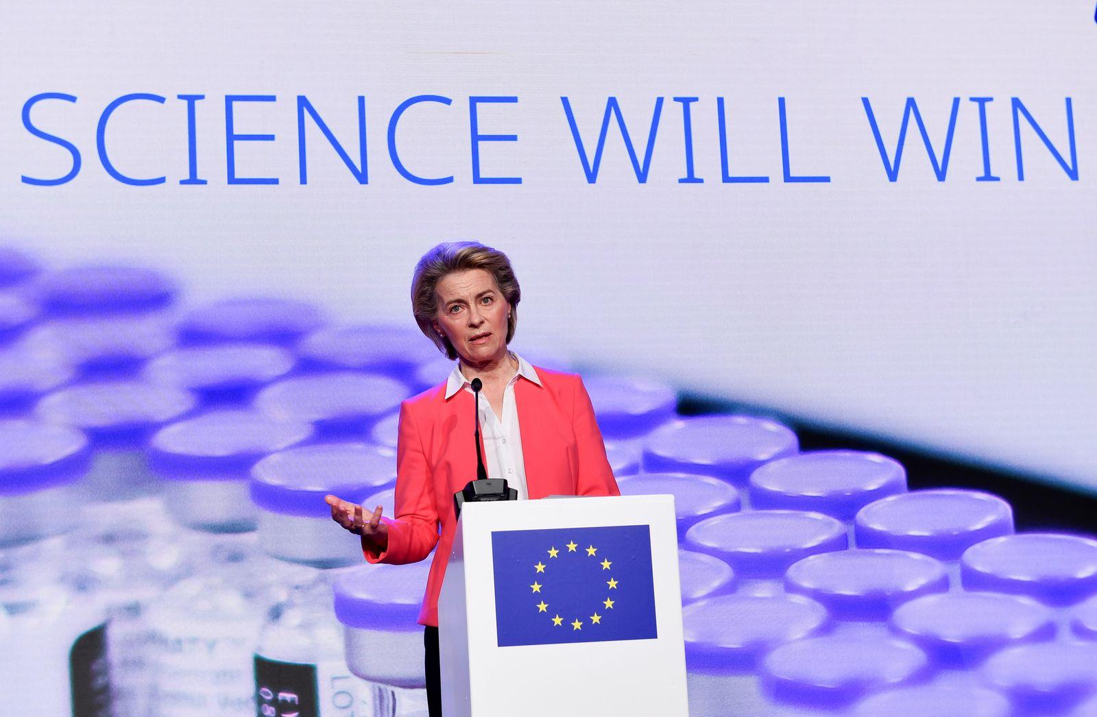European Commission President Ursula von der Leyen addresses a press conference after a visit at Pfizer vaccine plant in Puurs
