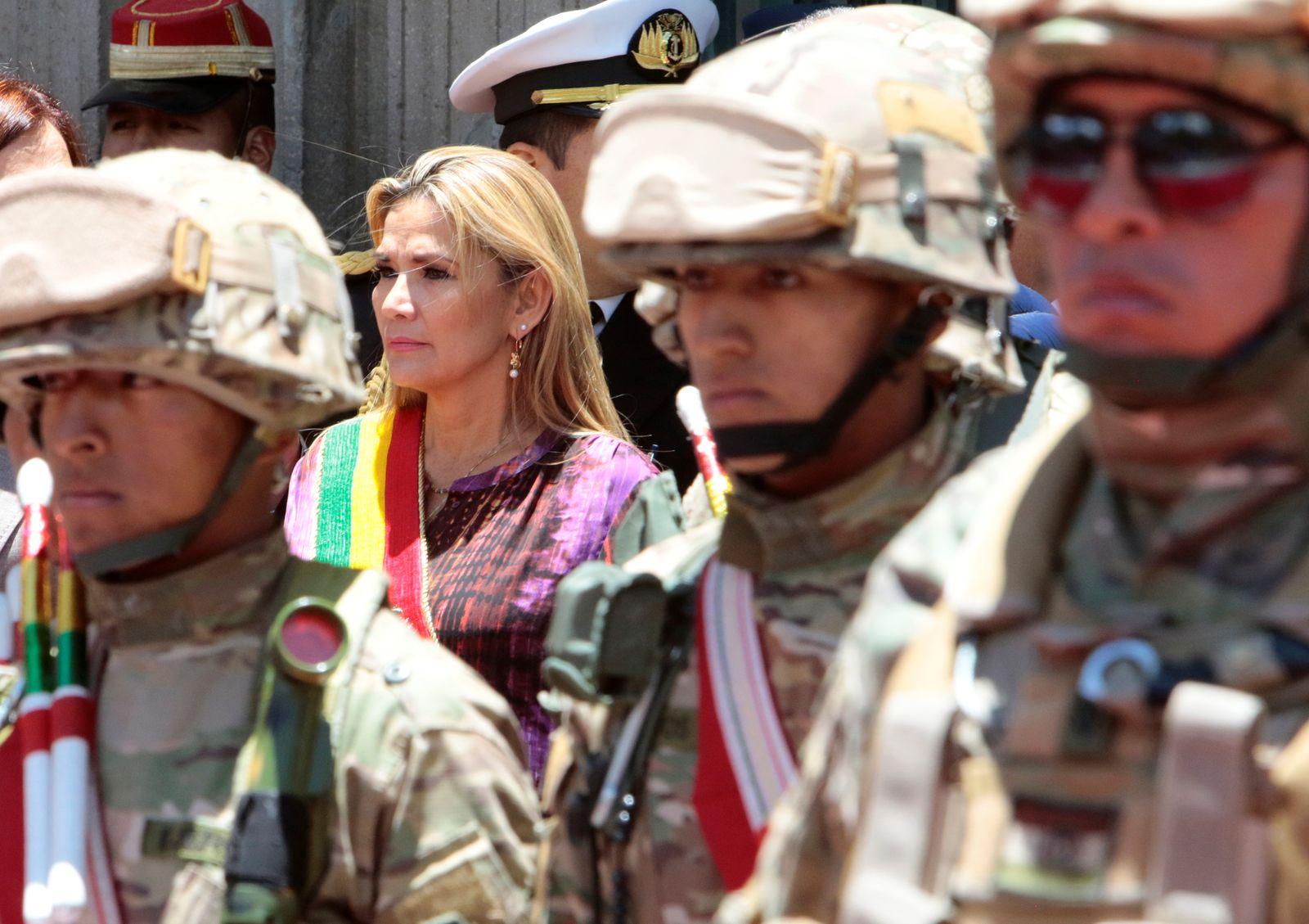Bolivia's interim president Jeanine Anez attends a ceremony in La Paz