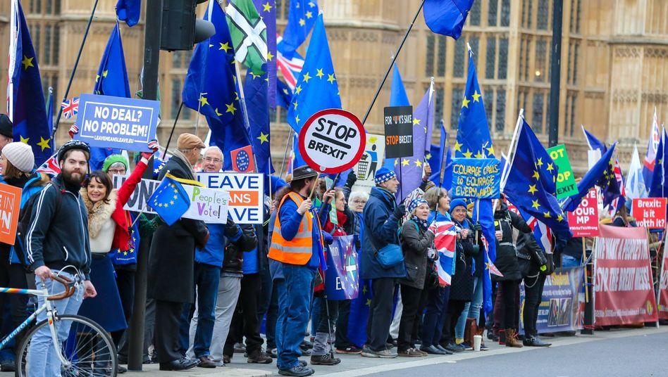 Brexitbefürworter und -gegner vor dem Parlament