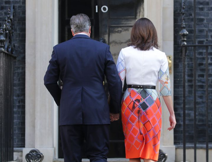 British Prime Minister David Cameron and his wife Samantha following his resignation announcement on Friday.