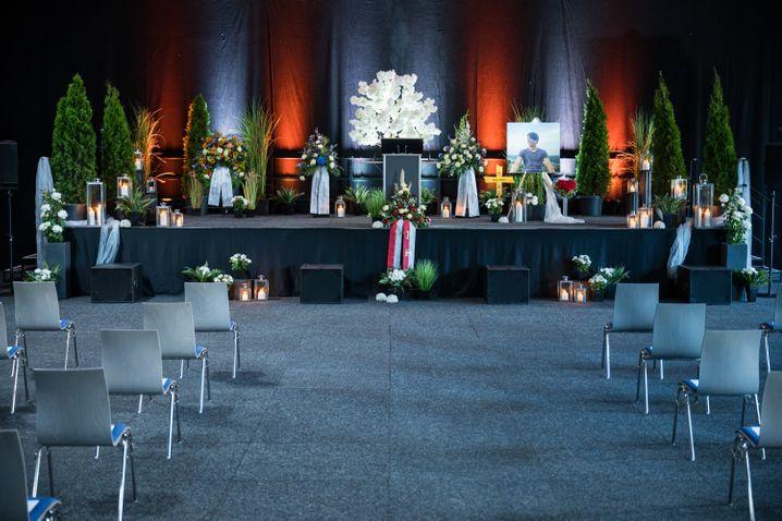 Saal der Trauerfeier in Idar-Oberstein