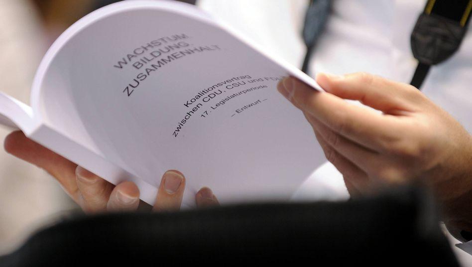 Entwurf des Koalitionsvertrags: Schwarz-gelber Plan für die kommenden Jahre