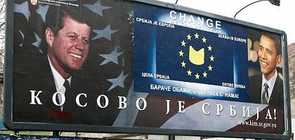 """A billboard in Serbia calling on US Senator Barack Obama to help Belgrade out in the crisis over Kosovo: """"Obama has made it clear he's willing to talk to everybody."""""""