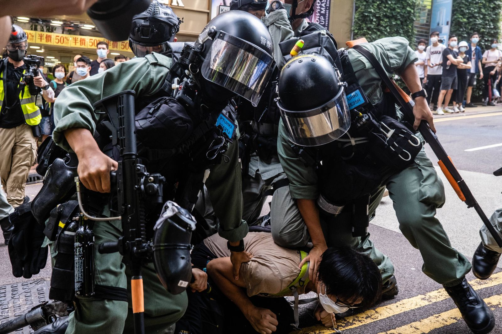July 1, 2020, Hong Kong, China: Riot police officers pinning down a protester during the demonstration..Following the pa