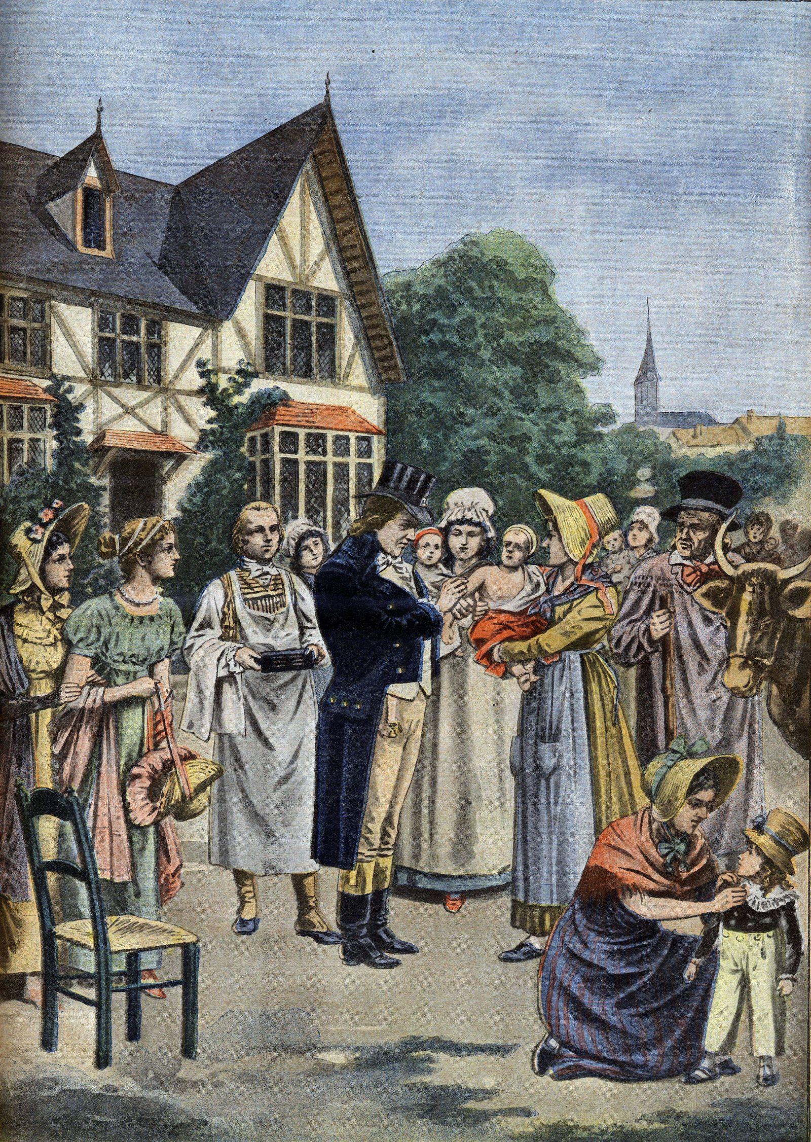 Le medecin Edward Jenner 1749 1823 procedant à l inoculation variolique sur un enfant en 1796 In