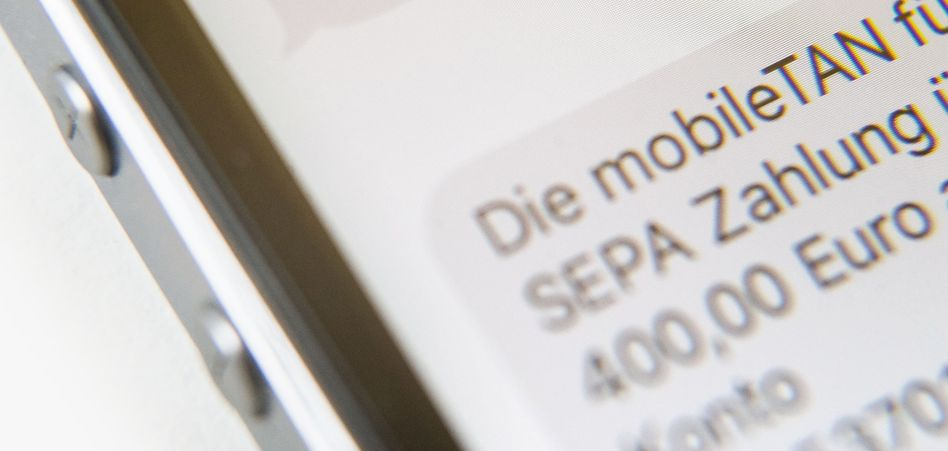 Handybildschirm mit SMS-TAN