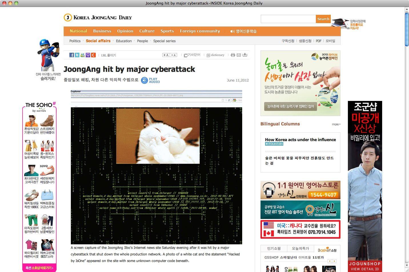 NUR ALS ZITAT Screenshot / Korea JoongAng / Hacker-Angriff