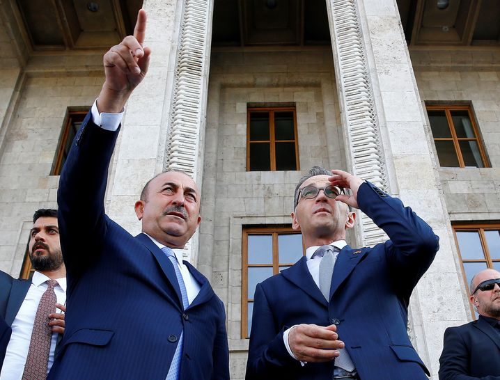 German Foreign Minister Heiko Maas (right) and Turkish Foreign Minister Mevlut Cavusoglu during his visit to Ankara last week.