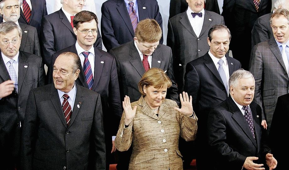 Angela Merkel and other EU heads of government, seen here at a summit in Brussels in 2007.