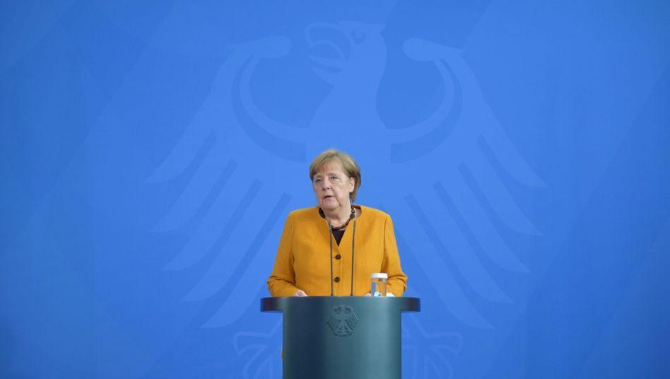 Bundeskanzlerin Angela Merkel (CDU) bei ihrem Pressestatement