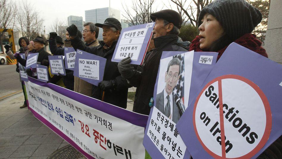 Protest gegen amerikanische Iran-Politik in Seoul: Washington macht Druck