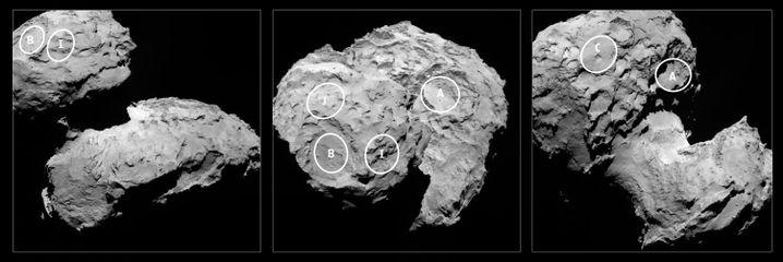 """Landebereiche auf Tschuri: In der Region J, genannt Agilkia, sollte """"Philae"""" zum Stehen kommen. Dort berührte sie auch den Kometen, prallte aber wieder ab. Die Forscher vermuten den Landeapparat nun in der Region B."""