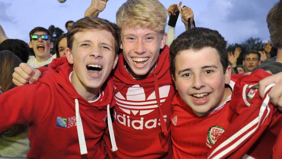 Wales-Fans beim Public Viewing