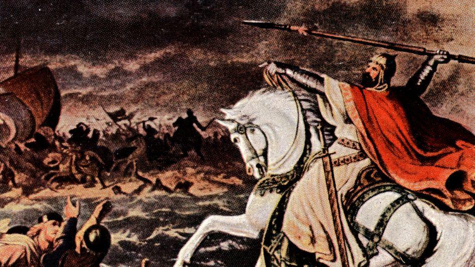 Otto der Große in der Schlacht auf dem Lechfeld (Zeichnung von Gaudenz von Rustige)