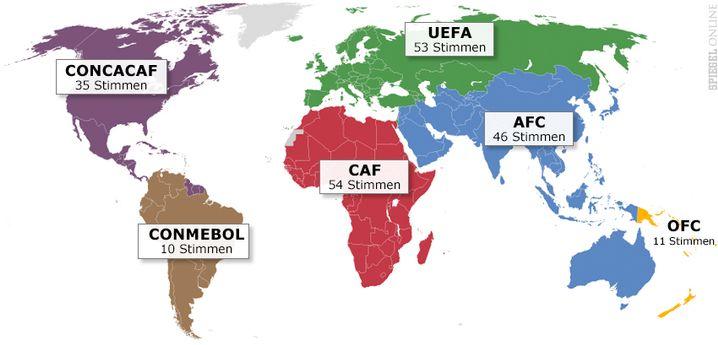 Stimmen der Kontinentalverbände bei der Fifa-Präsidentenwahl
