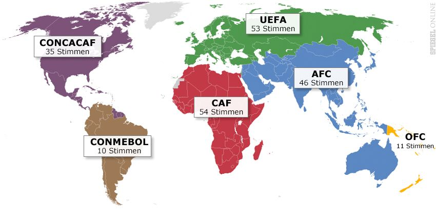 Karte FIFA Konföderationen