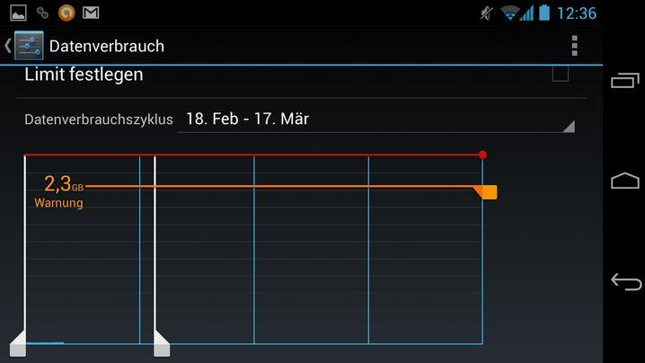 Datenverbrauch: Ab der Version 4.0 gibt es bei Android detaillierte Einstelloptionen