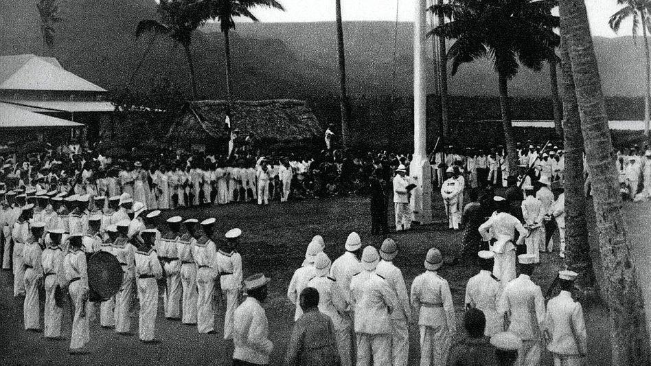 Hoheitsakt (1900): In der Hauptstadt Apia wurde die deutsche Flagge gehisst.