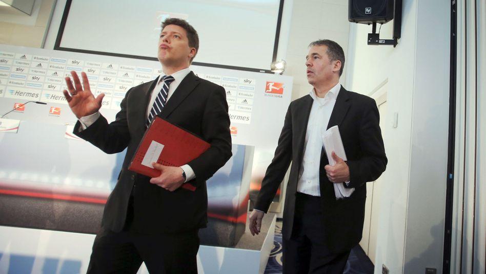 DFL-Geschäftsführer Andreas Rettig (r.): Torlinientechnik kommt nicht