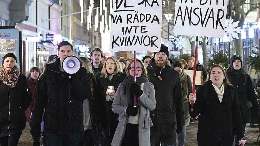 Demonstranten gegen Männergewalt in Malmö