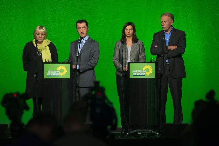 Green Party leaders at a Monday press conference. From left, Claudia Roth, Cem Özdemir, Katrin Göring-Eckhardt and Jürgen Trittin.