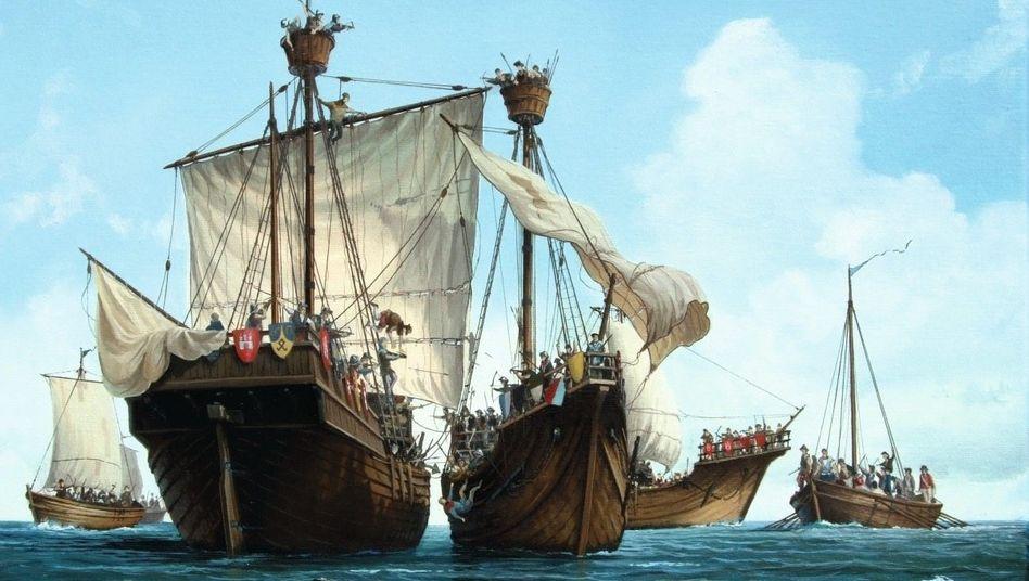 Seegefecht von Helgoland 1401 (Darstellung des Marinemalers Olaf Rahardt, 2000)