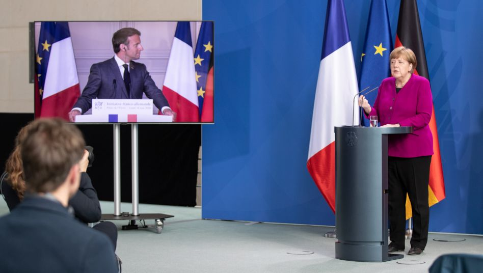Gemeinsame Pressekonferenz von Macron und Merkel am 18. Mai