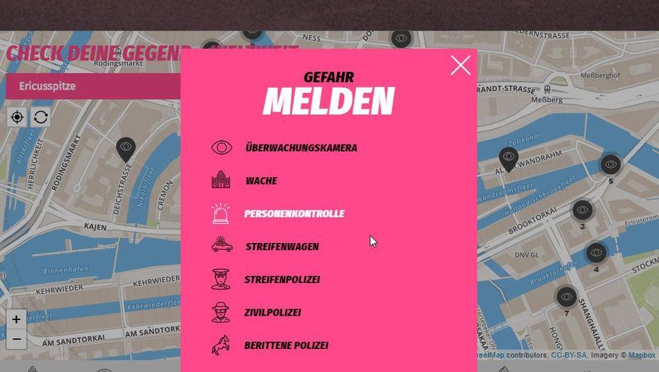 Screenshot der Webseite Cop Map