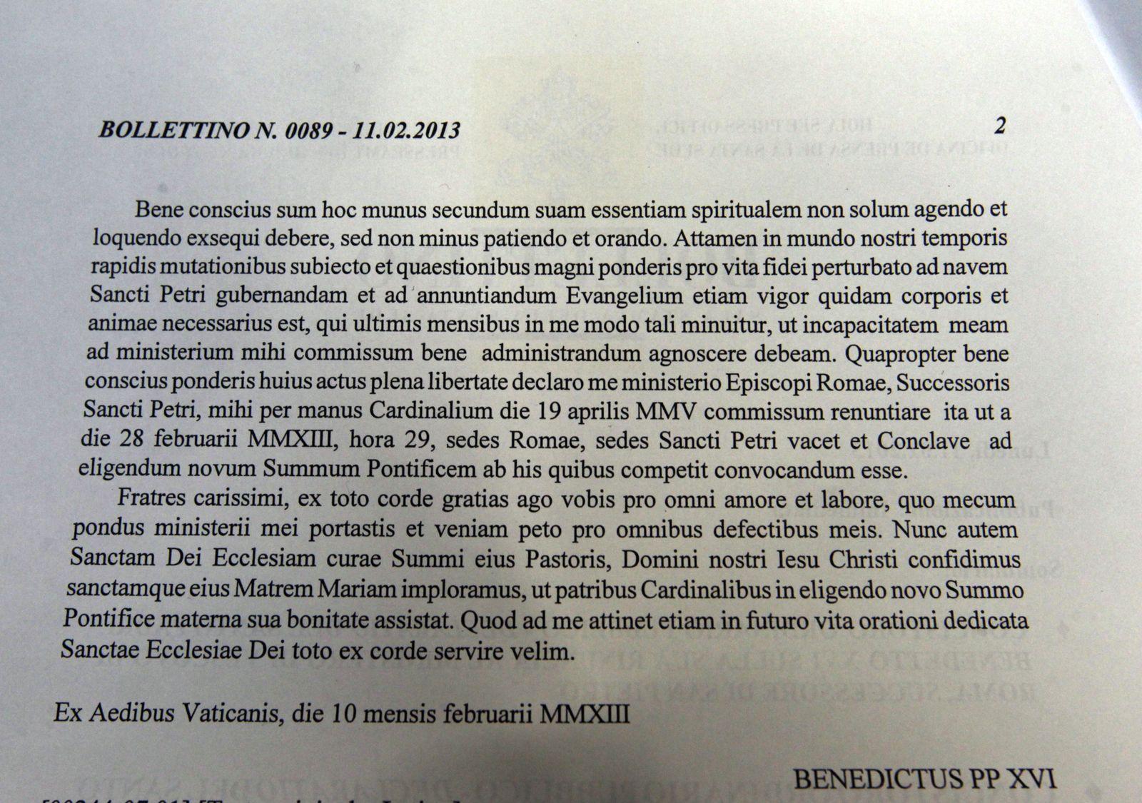 Papst Benedikt/ Rücktritt/ Text Latein