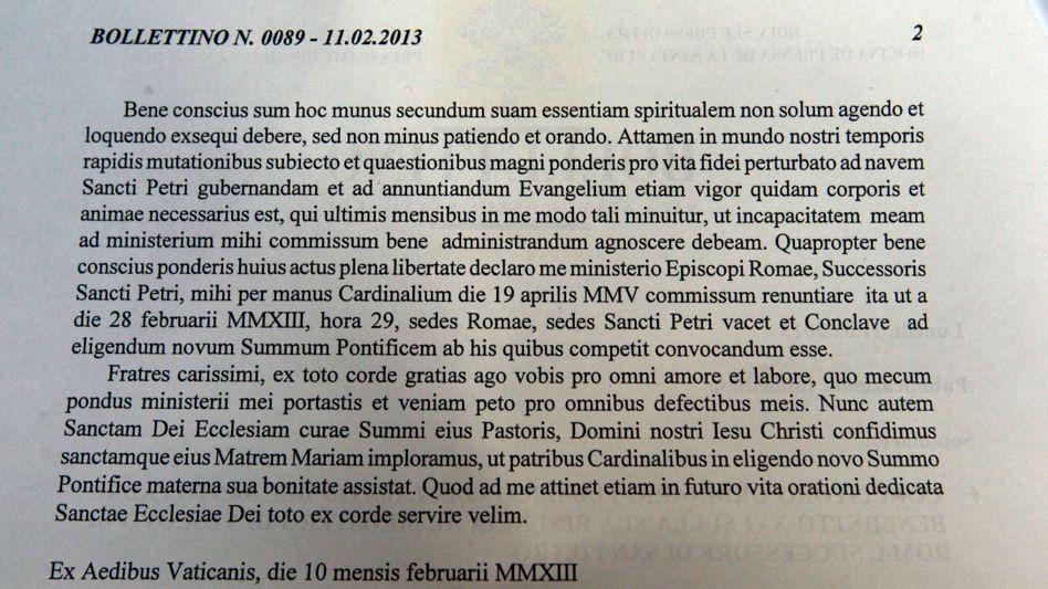 Bulletin Nr. 0089: Das lateinische Original der Rücktrittserklärung