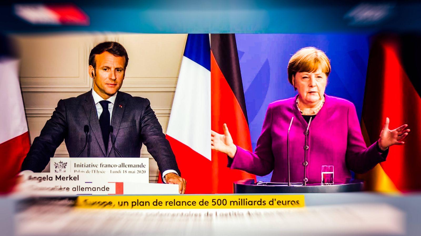 FRANCE - POLITICS - SPEECHES ON CORONAVIRUS 18 May 2020, Paris (75), FRANCE. Screenshot of Emmanuel Macron (L), Preside