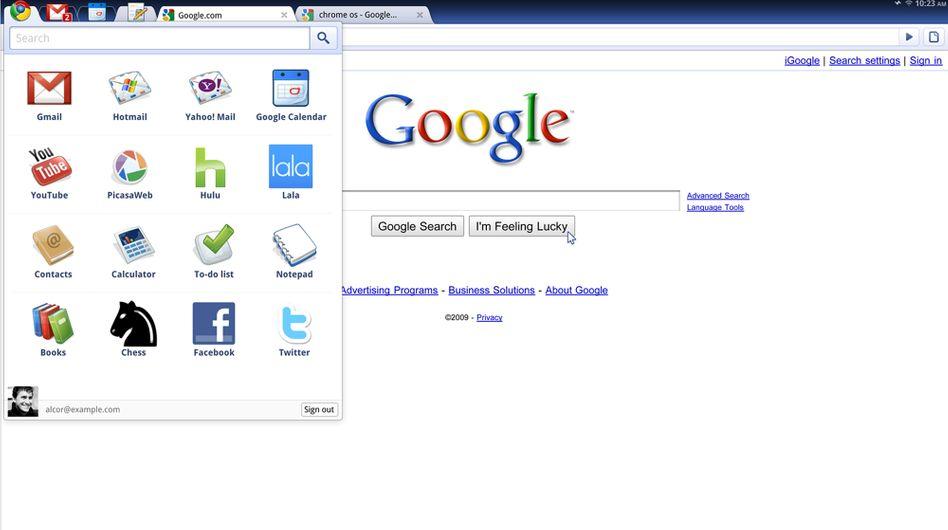 Ein Screenshot der Internet-Seite von Google Chrome OS: Kommt jetzt die Wolke?